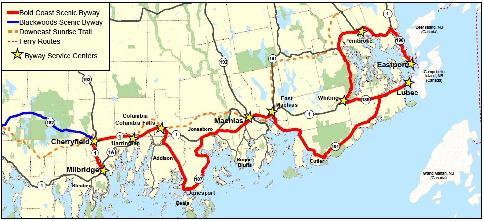 Map of Bold Coast Scenic Byway